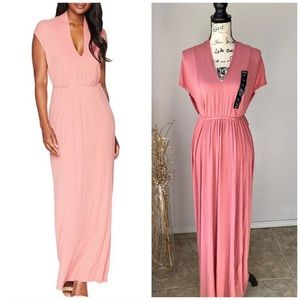 Lucky Brand NWT Pink Ribbed Rose Maxi Dress